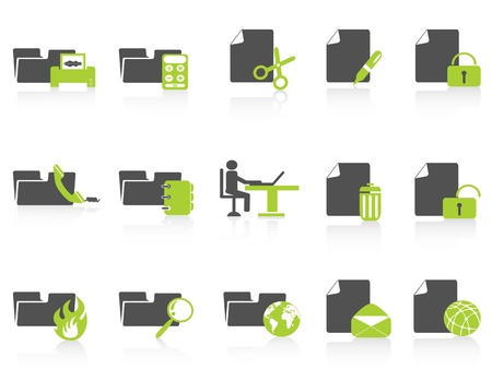 isolated folder and document icons green series from white background