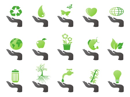 water can: isolated hand with green eco icons from white background