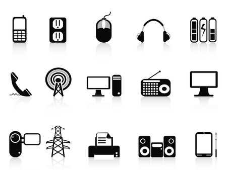 electronic device: isolated black electronic icons set from white background
