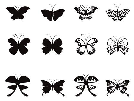 silhouette papillon: motif de papillon isolé à partir de fond blanc Illustration