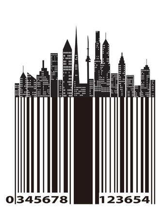 hong kong night: special design bar code of city buildings