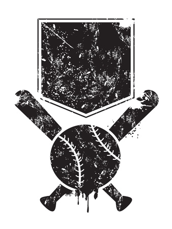 grunge baseball background of bats,base and ball
