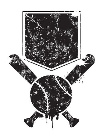 softbol: grunge de fondo de béisbol de los murciélagos, la base y la pelota