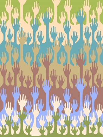 raise the thumb: Seamless background of colorful raising hands
