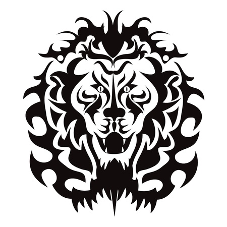 angry lion: the graphic pattern of lion head