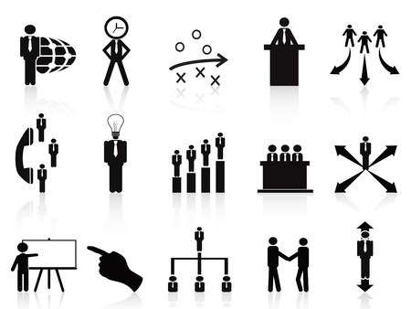 job recruitment: isolated black management icons set on white background Illustration
