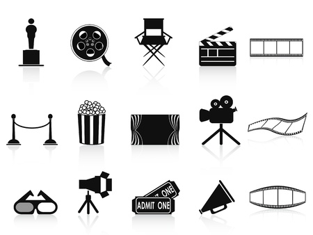 isolated black movies icons set from white background Stock Vector - 13659729