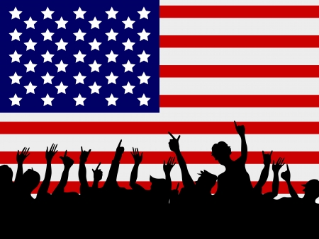 the background of people gathering in front of USA flag Vector
