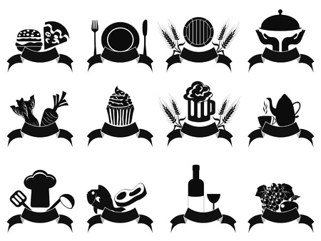 isolated black food banner icons set from white background  Vector