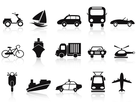 isolated black transportation icons set on white background Stock Vector - 13763470