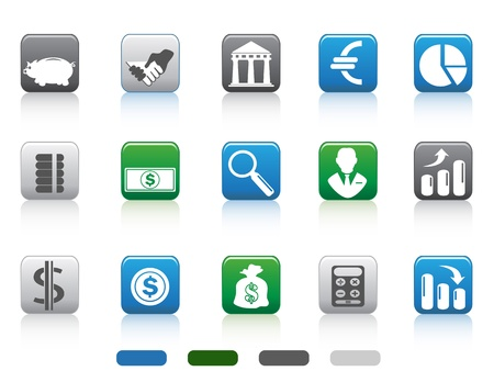 isolated square button of simple Finance and Banking icons set from white background Vector