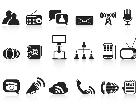 isolated black communication icons set on white background Stock Vector - 13878212