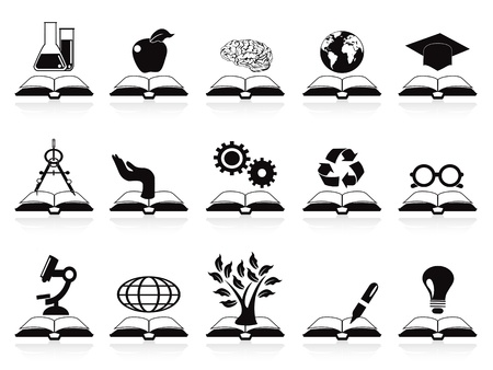knowledge tree: isolated books concept icons set from white background