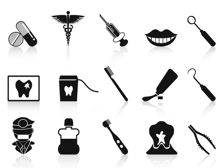 floss: isolated black dental icons set from white background