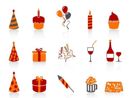 geïsoleerde eenvoudige kleur verjaardag pictogrammen instellen van een witte achtergrond Vector Illustratie