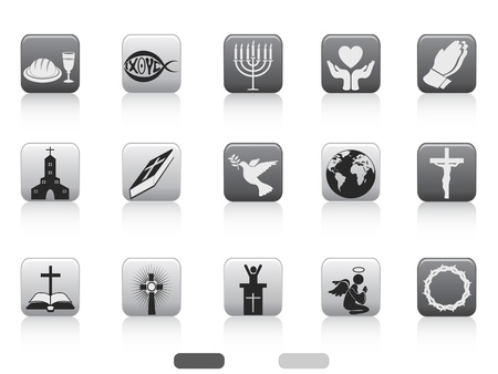 praise: isolated square button of christian icons set on white background Illustration