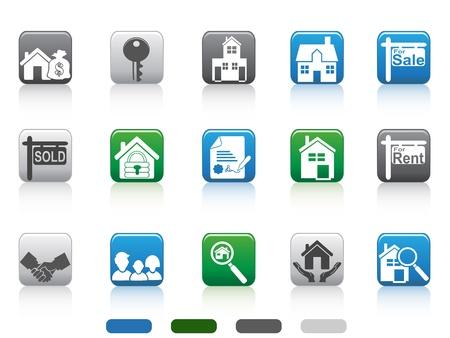 icono candado: aislados cuadrados iconos de los botones de bienes ra�ces establecidos en el fondo blanco