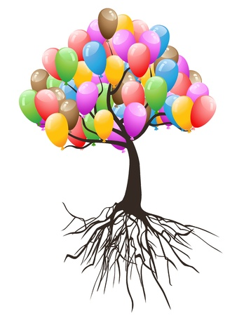 isolated colorful balloons tree for happy holiday on white background Vector