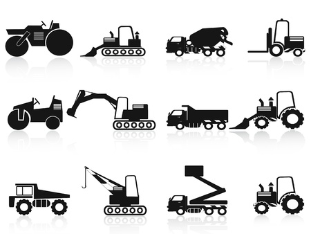 dozer: isolated black Construction Vehicles icons set on white background Illustration