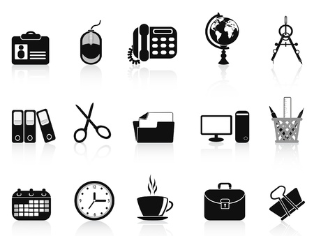 isolated black office tools icon set from white background