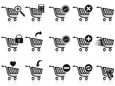 cart icon: isolated black shopping cart icon set on white background