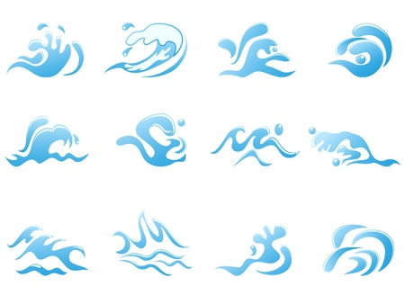 capricious: isolated abstract blue wave icons on white background