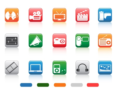 media tools icons in color square buttons Vector