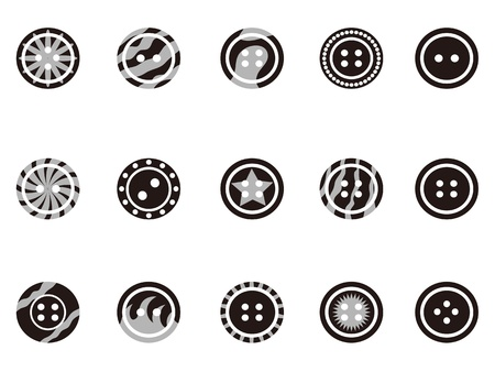isolated Black Clothing Button icons on white background Stock Vector - 14029942