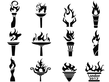 isolated black fire flame torch icons set from white background Vector