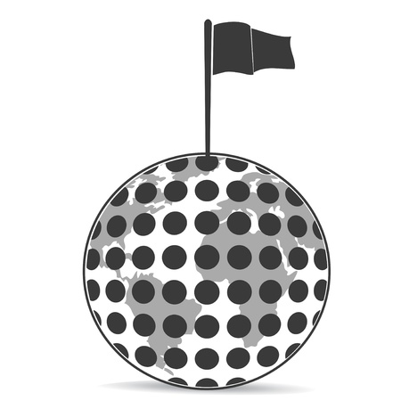the flag on the top of golf ball Vector