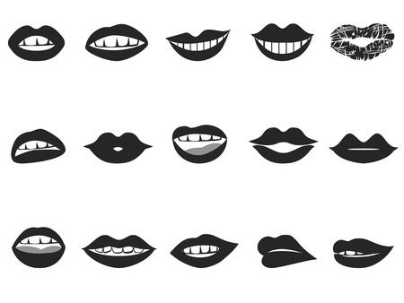 isolated black lips icon set on white background  Illustration