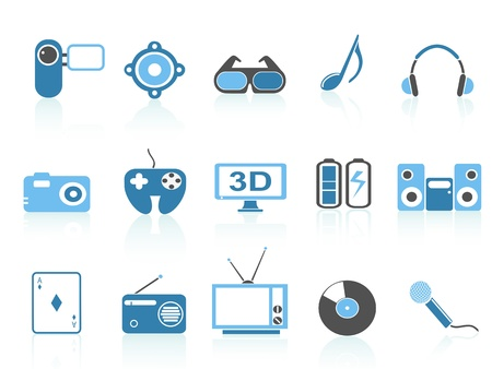 mp3 player: isolated blue media entertainment icons on white background Illustration