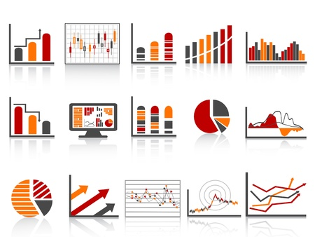 diferentes informes de gestión financiera en el icono de color simple