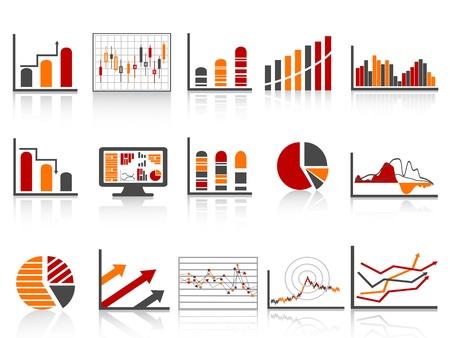 riferire: finanziario diverso sull'icona Gestione report in colore semplice Vettoriali