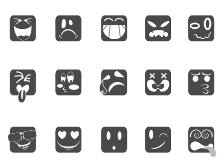 nausea: isolated square smiley face icons from white background