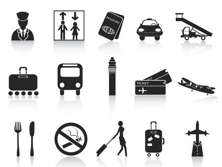 billets d avion: isol�s ic�nes noires d�finies � partir de l'a�roport fond blanc Illustration