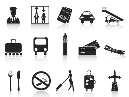 airplane take off: isolated black airport icons set from white background