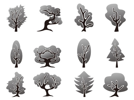 special style of black tree icons set Vector