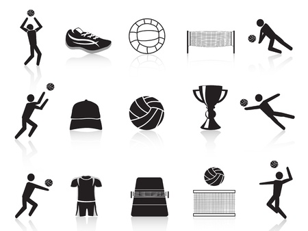 beach volleyball: isolated black volleyball icons set from white background