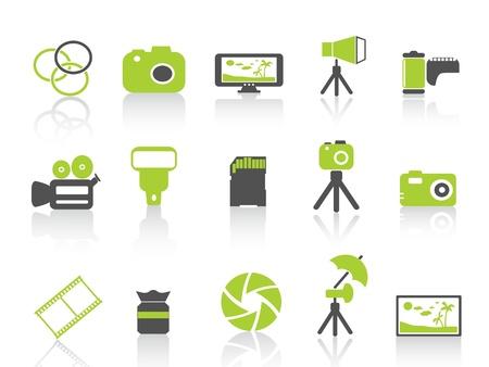 gran angular: aislada la fotograf�a icono verde de los elementos en el fondo blanco Vectores