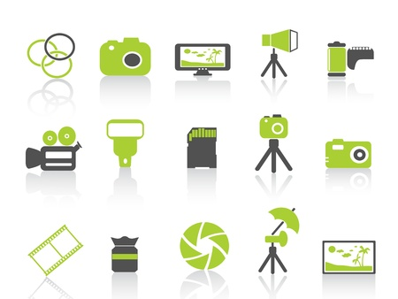 strobe light: isolated green photography element icon on white background Illustration