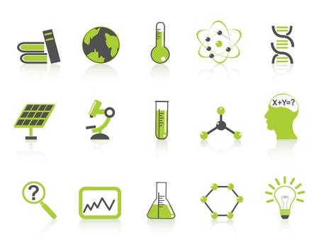 probeta: aislados iconos de la ciencia verdes establecidas en el fondo blanco Vectores