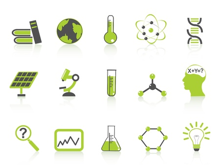 electrons: isolated green science icons set from white background