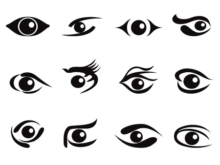 eyes open: some abstract eyes icon set for design Illustration