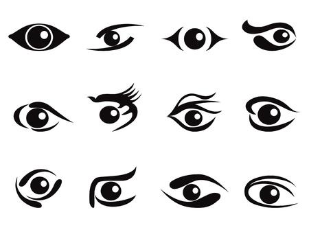 oeil dessin: un ensemble ic�ne abstraite yeux pour la conception Illustration