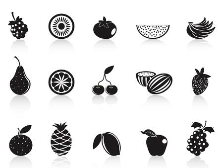 isolated black fruit icons set on white background