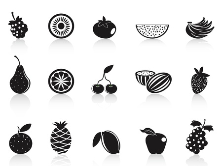 isolated black fruit icons set on white background Vector
