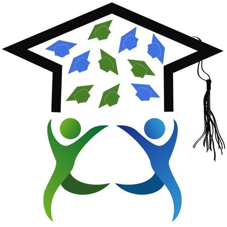 학생들의 졸업 이벤트의 상징 일러스트