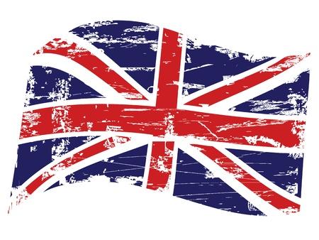 bandera inglesa: Textura de fondo sucio de la bandera del Reino Unido