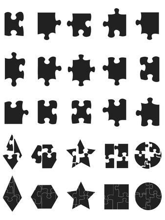 piezas de puzzle: Puzzle aislado negro icono de piezas de puzzle en el fondo blanco
